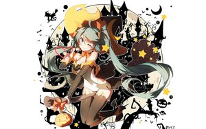Rating: Safe Score: 119 Tags: animal aqua_eyes bai_yemeng bat blue_hair bodysuit boots bow cameltoe fang halloween hat hatsune_miku long_hair moon pumpkin signed silhouette stars thighhighs twintails vocaloid white wings wink witch witch_hat User: RyuZU