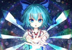 Rating: Safe Score: 63 Tags: aqua_eyes aqua_hair bow cirno close fairy magic short_hair teraguchi touhou wings User: sadodere-chan