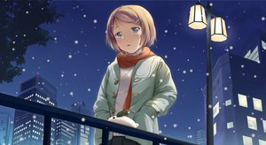 Rating: Safe Score: 74 Tags: blonde_hair building green_eyes kagamine_rin kotobamaru night scarf short_hair snow vocaloid User: 秀悟