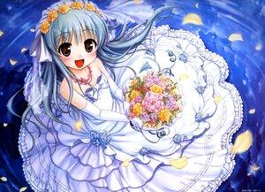 Rating: Safe Score: 8 Tags: august bekkankou daitoshokan_no_hitsujikai dress elbow_gloves gray_hair long_hair scan ureshino_sayumi water wedding_attire User: Wiresetc