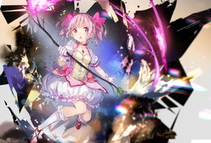 Rating: Safe Score: 49 Tags: bow dress gloves kaname_madoka kneehighs mahou_shoujo_madoka_magica necklace pink_eyes pink_hair short_hair twintails yuugen User: BattlequeenYume