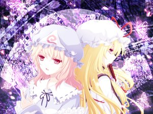 Rating: Safe Score: 11 Tags: blonde_hair hat long_hair purple_hair saigyouji_yuyuko short_hair touhou yakumo_yukari User: Tensa