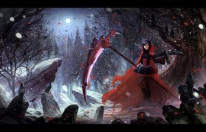 Rating: Safe Score: 258 Tags: animal bird black_hair boots cape cross dress forest moon pantyhose red_hair ruby_rose rwby scythe short_hair snow tree weapon zi_ye_(hbptcsg2) User: SciFi