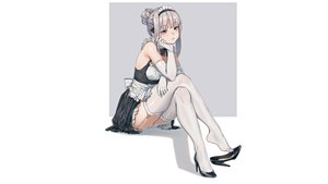 Rating: Safe Score: 82 Tags: apron elbow_gloves fangxiang_cuoluan garter gloves gray_hair headdress maid original panties stockings thighhighs third-party_edit underwear upskirt white User: gnarf1975