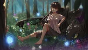 Rating: Safe Score: 50 Tags: barefoot brown_hair dragon flowers forest grass how_to_train_your_dragon original red_eyes septet_(zrca_janne) shade shorts toothless tree User: Flandre93