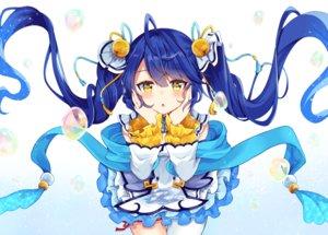 Rating: Safe Score: 49 Tags: aliasing amamiya_kokoro bell blue_hair blush bubbles dress gradient long_hair maki_soutoki nijisanji twintails yellow_eyes User: RyuZU