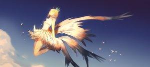 Rating: Safe Score: 84 Tags: animal bird brown_hair card_captor_sakura clare_(543) clouds crown dress gloves kinomoto_sakura short_hair wings User: SciFi