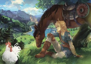 Rating: Safe Score: 23 Tags: all_male animal aqua_eyes bird blonde_hair boots building epona gloves grass horse landscape link_(zelda) male pointed_ears ponytail ram_(moekki) scenic the_legend_of_zelda tree User: otaku_emmy
