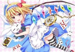 Rating: Safe Score: 54 Tags: alice_in_wonderland apron blonde_hair blush bow bunny cosplay dress flandre_scarlet hyurasan ponytail red_eyes ribbons sky thighhighs touhou vampire wings User: 蕾咪