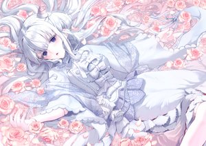Rating: Safe Score: 34 Tags: blue_eyes bow flowers japanese_clothes lolita_fashion long_hair misty_cj original rose white_hair User: sadodere-chan