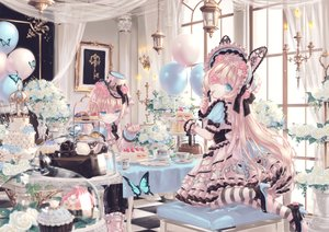 Rating: Safe Score: 30 Tags: animal_ears blonde_hair blue_eyes bunny_ears butterfly cake dress drink eyepatch flowers food hat lolita_fashion long_hair original rose short_hair yumeichigo_alice User: BattlequeenYume