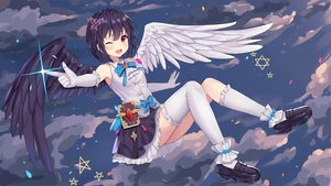 Rating: Safe Score: 62 Tags: angel black_hair clouds elbow_gloves gloves hokori_sakuni kneehighs original red_eyes short_hair skirt sky stars thighhighs wings wink User: Dreista