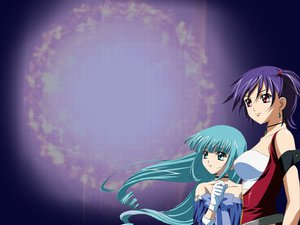Rating: Safe Score: 9 Tags: aqua_eyes aqua_hair eclair gloves kiddy_grade lumiere purple_hair red_eyes User: Oyashiro-sama