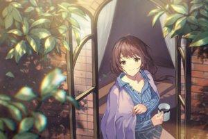 Rating: Safe Score: 40 Tags: brown_eyes brown_hair drink haru_(hiyori-kohal) leaves original pajamas User: Dreista