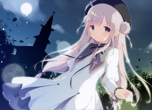 Rating: Safe Score: 88 Tags: cross dress gray_eyes long_hair moon night scan shiratama white_hair User: mattiasc02