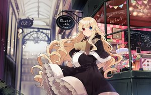 Rating: Safe Score: 64 Tags: bicolored_eyes blonde_hair candy cape dress goth-loli hoodie ikeuchi_tanuma lolita_fashion long_hair original User: BattlequeenYume