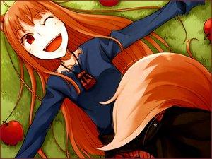 Rating: Safe Score: 50 Tags: animal_ears apple ayakura_juu food fruit horo necklace ookami_to_koushinryou red_eyes tail wink wolfgirl User: happygestapo