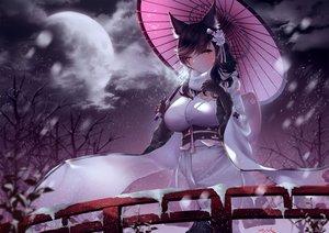 Rating: Safe Score: 74 Tags: animal_ears anthropomorphism atago_(azur_lane) azur_lane breasts foxgirl japanese_clothes kimono snow vanitas_0 User: sadodere-chan