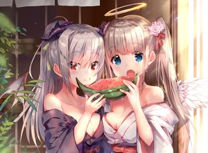Rating: Safe Score: 96 Tags: 2girls angel blue_eyes blush breasts brown_hair cleavage cropped demon fang food fruit gray_hair halo horns japanese_clothes long_hair original ponytail red_eyes twintails usagihime watermelon wings yukata User: otaku_emmy