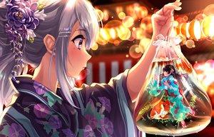 Rating: Safe Score: 80 Tags: 2girls animal black_hair blush close festival fish flowers gray_hair higuchi_kaede japanese_clothes long_hair nijisanji ponytail purple_eyes summer tdnd-96 tsukino_mito underwater water yukata User: otaku_emmy