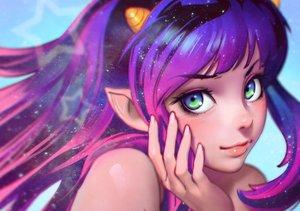 Rating: Safe Score: 173 Tags: close cropped green_eyes horns ilya_kuvshinov long_hair lum pointed_ears purple_hair urusei_yatsura User: luckyluna