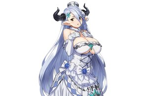 Rating: Safe Score: 52 Tags: blue_hair bow breast_hold breasts brown_eyes cleavage dress elbow_gloves gloves granblue_fantasy hat horns houtengeki izmir_(granblue_fantasy) long_hair pointed_ears sketch underboob white User: otaku_emmy