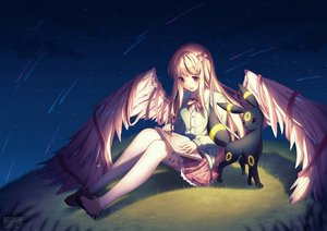 Rating: Safe Score: 101 Tags: blonde_hair long_hair night pokemon red_eyes rosuuri skirt stars umbreon wings User: mattiasc02