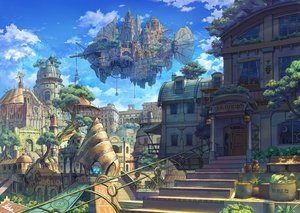Rating: Safe Score: 35 Tags: airship building city clouds kaitan nobody original scenic sky stairs tree User: otaku_emmy