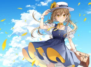 Rating: Safe Score: 54 Tags: bow brown_hair choker clouds dress flowers hat long_hair original petals ribbons shirako_miso sky twintails wristwear yellow_eyes User: Dreista