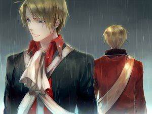 Rating: Safe Score: 24 Tags: america_(hetalia) axis_powers_hetalia blonde_hair blue_eyes male rain sanbonzakura short_hair united_kingdom_(hetalia) User: PAIIS