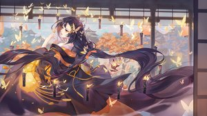 Rating: Safe Score: 94 Tags: black_hair butterfly criin_(659503) fire japanese_clothes kimono long_hair magic original red_eyes watermark User: Nepcoheart