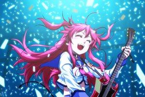 Rating: Safe Score: 39 Tags: angel_beats! blush fang guitar instrument long_hair pink_hair twintails yui_(angel_beats!) User: Tensa
