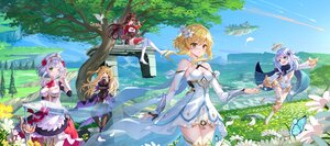 Rating: Safe Score: 75 Tags: amber_(genshin_impact) blonde_hair brown_hair butterfly clouds dress fischl_(genshin_impact) flowers genshin_impact grass gray_hair green_eyes group landscape loli lumine_(genshin_impact) noelle_(genshin_impact) paimon_(genshin_impact) scenic sky sword swordsouls tree weapon wink yellow_eyes User: BattlequeenYume