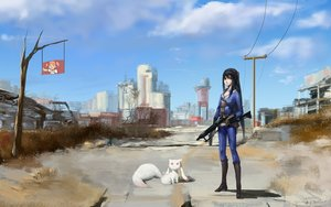Rating: Safe Score: 133 Tags: akemi_homura animal black_hair blackrabbitsoul boots building cat city clouds crossover dress fallout fallout_4 gun industrial kaname_madoka kyuubee long_hair mahou_shoujo_madoka_magica red_eyes red_hair ruins skintight sky tree twintails weapon yellow_eyes User: Flandre93