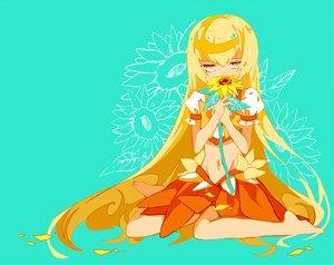 Rating: Safe Score: 42 Tags: barefoot blonde_hair cure_sunshine cyan flowers heartcatch_precure! long_hair myoudouin_itsuki navel petals precure skirt sunflower yuucho_(cololal) User: C4R10Z123GT