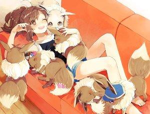 Rating: Safe Score: 93 Tags: blush brown_eyes brown_hair couch eevee kurodeko long_hair pokemon ponytail shorts wink User: BattlequeenYume