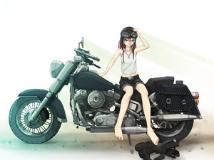 Rating: Safe Score: 56 Tags: barefoot blue_eyes boots el-f goggles motorcycle necklace pink_hair shorts white User: RoronoAxMihawK