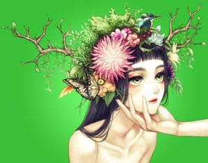 Rating: Safe Score: 24 Tags: animal bird black_hair butterfly close flowers green green_eyes horns ohagi_(ymnky) original topless tree User: FormX