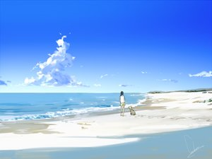 Rating: Safe Score: 62 Tags: animal beach black_hair clouds dog loundraw original scenic shorts sky water User: Flandre93