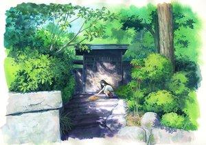 Rating: Safe Score: 28 Tags: animal black_hair cat forest long_hair original sawitou_mizuki scenic shorts stairs tree User: RyuZU