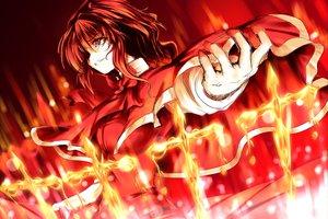 Rating: Safe Score: 62 Tags: bow cape cross fire gloves magic okazaki_yumemi red_eyes red_hair ribbons short_hair touhou wakakoubou User: Tensa