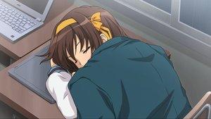 Rating: Safe Score: 46 Tags: bow brown_hair computer game_cg headband ribbons school_uniform sleeping suzumiya_haruhi suzumiya_haruhi_no_tsuisou suzumiya_haruhi_no_yuutsu User: SciFi
