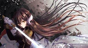 Rating: Safe Score: 61 Tags: aliasing anthropomorphism azur_lane brown_hair gloves long_hair mikasa_(azur_lane) sword tagme_(artist) uniform weapon yellow_eyes User: BattlequeenYume