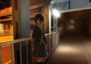Rating: Safe Score: 50 Tags: black_hair brown_eyes building dark kneehighs night original sakeharasu scenic school_uniform short_hair skirt User: RyuZU
