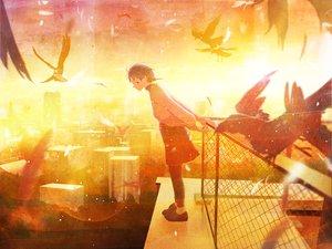 Rating: Safe Score: 3 Tags: animal bird feathers iwakura_lain nakamura_yukihiro serial_experiments_lain sunset User: FormX
