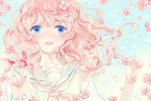 Rating: Safe Score: 17 Tags: animal blue_eyes cherry_blossoms close fish kyang692 original petals pink_hair seifuku User: FormX