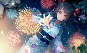 Rating: Safe Score: 65 Tags: animal black_hair fireworks fish japanese_clothes long_hair nonono_(nononotea) orange_eyes original reflection ribbons water yukata User: RyuZU