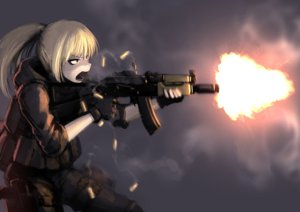 Rating: Safe Score: 74 Tags: armor blonde_hair gloves hellshock original ponytail weapon User: TommyGunn