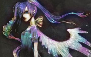 Rating: Safe Score: 34 Tags: blue_eyes bow dark dress flowers hatsune_miku long_hair purple_hair twintails vocaloid wings User: mikulover
