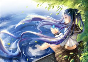 Rating: Safe Score: 85 Tags: barefoot blue_eyes blue_hair butterfly hatsune_miku leaves long_hair seifuku twintails vocaloid water yeluno_meng User: FormX